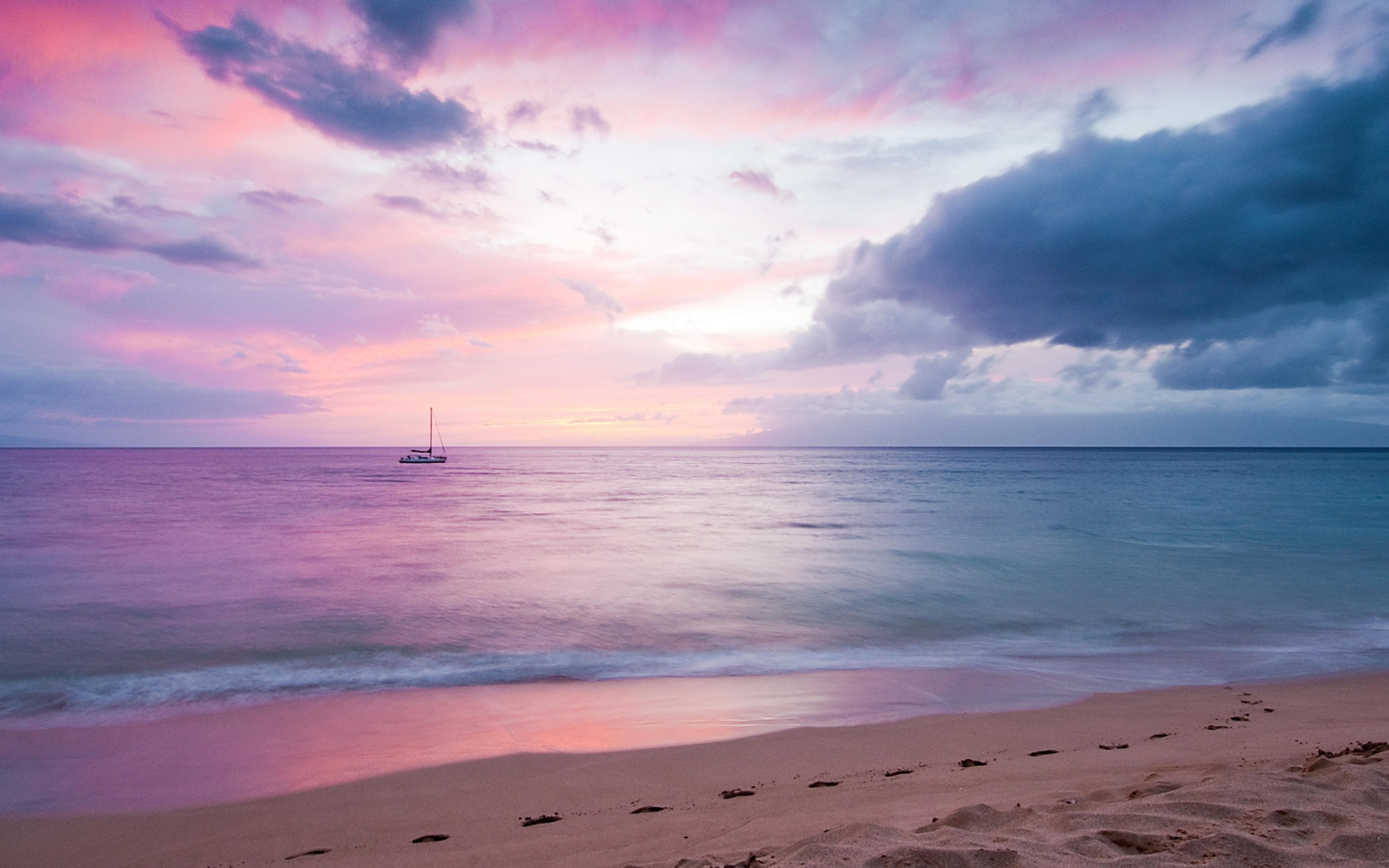 Beautiful Purple Sky Over The Sea Sunset Wallpaper