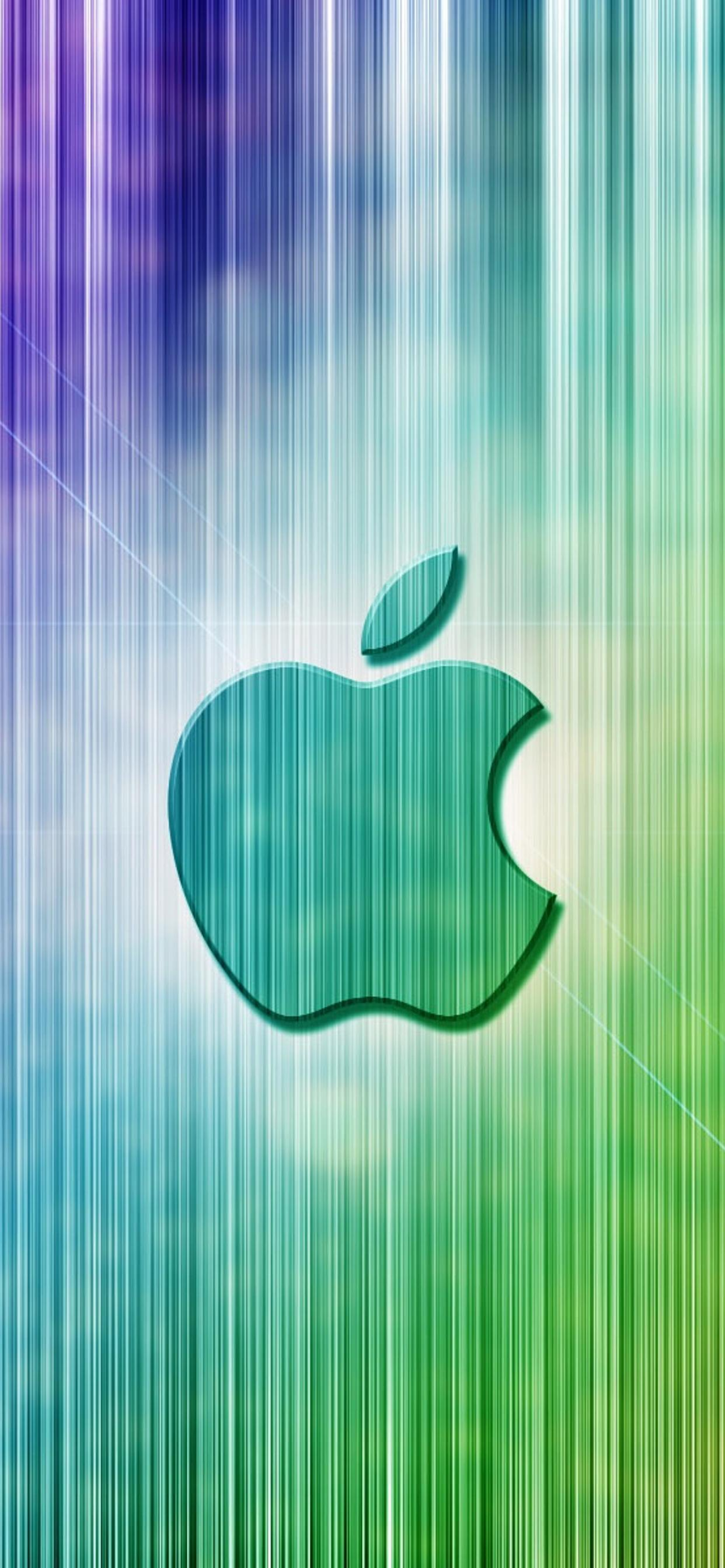Apple Logo On A Rainbow Background Wallpaper