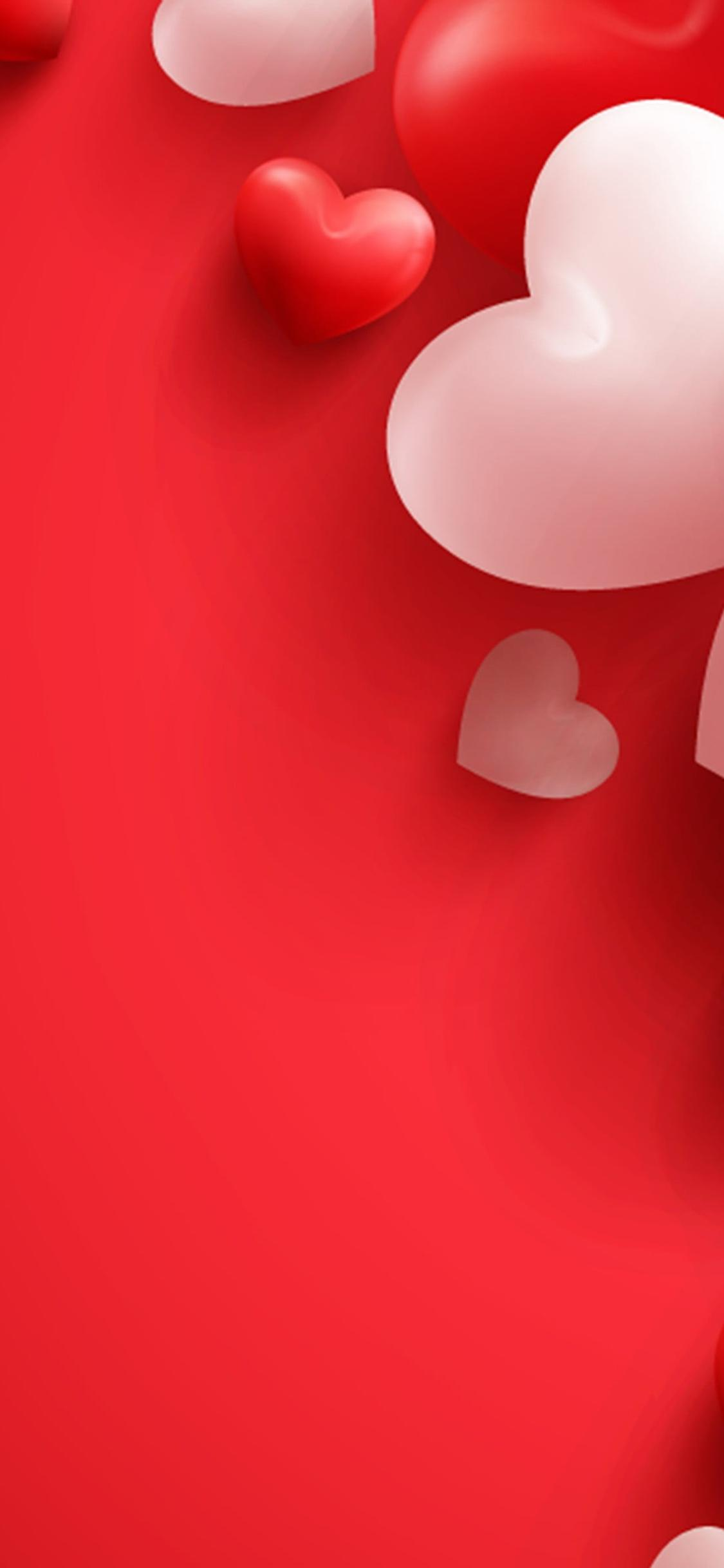 Love Wallpaper With Red And White Hearts Valentines Day
