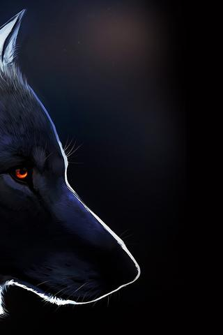 Black Wolf Drawing Dark Creative Wallpaper