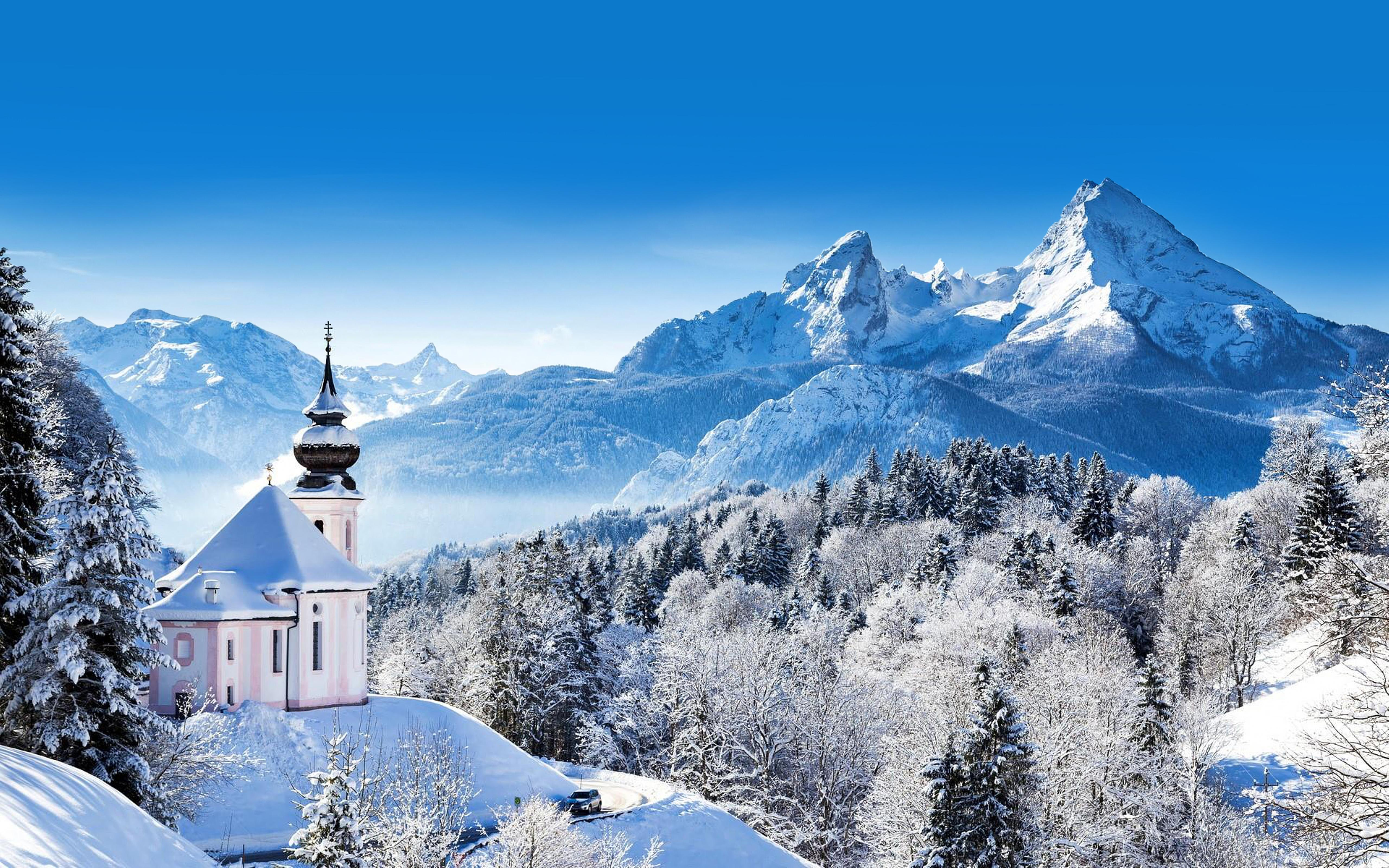 Wonderful Winter Mountain Wallpaper Berchtesgaden Germany